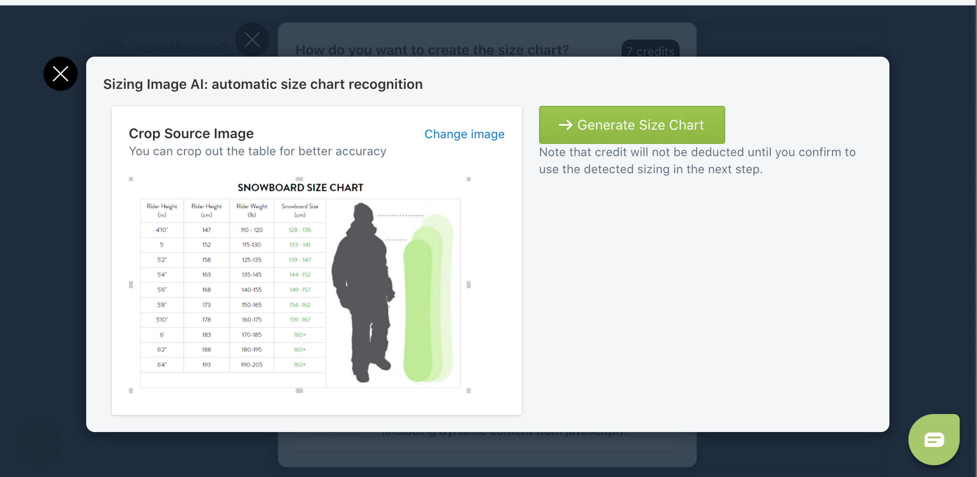 Import an image to create size charts in seconds with our Sizing Image AI